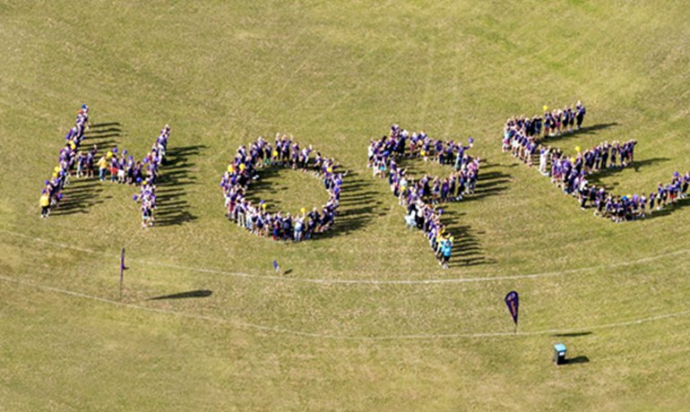 Relay for Life aerial HOPE photo HBF Arena